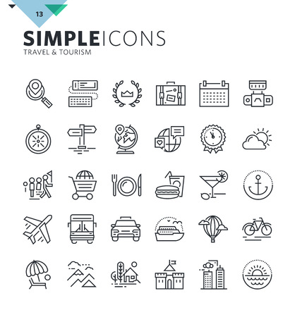 shopping icon: Modern thin line icons of travel and tourism. Premium quality outline symbol collection for web and graphic design, mobile app. Mono linear pictograms, infographics and web elements pack. Illustration