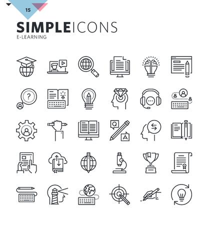 iconos de líneas finas modernas de la educación en línea y e-learning. Prima recogida símbolo del esquema de calidad para la web y el diseño gráfico, la aplicación móvil. Mono pictogramas lineales, infografía y elementos web paquete.