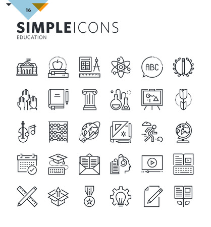 Modern thin line education icons. Premium quality outline symbol collection for web design, mobile app, graphic design. Mono linear pictograms, infographics and web elements pack.