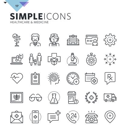 Moderne ligne mince icônes médicaux. collection Premium aperçu de la qualité de symbole pour la conception web, application mobile, la conception graphique. Mono pictogrammes linéaires, des infographies et les éléments web emballent.