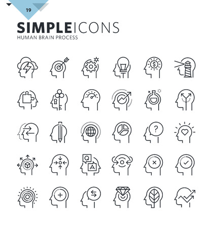 features: Modern thin line icons of human features and emotions. Premium quality outline symbol collection for web design, mobile app, graphic design. Mono linear pictograms, infographics and web elements pack.