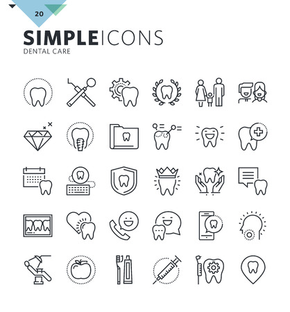 Modern thin line icons of dental care and dentist services. Premium quality outline symbol collection for web and graphic design, mobile app. Mono linear pictograms, infographics and web elements pack Vettoriali