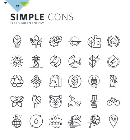 biosphere: Modern thin line icons of environment and green energy. Premium quality outline symbol collection for web design, mobile app, graphic design. Mono linear pictograms, infographics and web elements pack Illustration