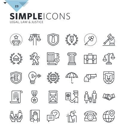 iconos modernos de líneas delgadas de servicios de derecho y abogado. Prima recogida esquema calidad del símbolo para el diseño web, la aplicación móvil, el diseño gráfico. Mono pictogramas lineales, infografía y elementos web paquete.