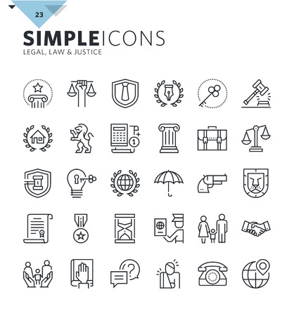 Modern thin line icons of law and lawyer services. Premium quality outline symbol collection for web design, mobile app, graphic design. Mono linear pictograms, infographics and web elements pack. Stock Vector - 60381121