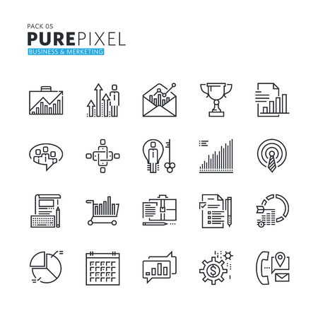 thin: Set of modern thin line pixel perfect icons of business and marketing. Premium quality icon collection for web design, mobile app, graphic design. Illustration
