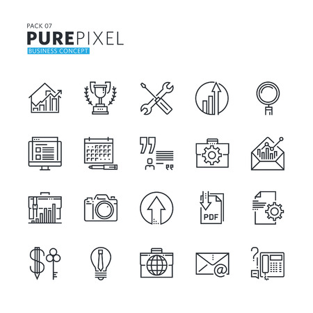 quality icon: Set of modern thin line pixel perfect business concept icons. Premium quality icon collection for web design, mobile app, graphic design. Illustration