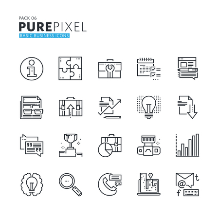 icon collection: Set of modern thin line pixel perfect basic business icons. Premium quality icon collection for web design, mobile app, graphic design. Illustration