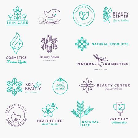 Conjunto de etiquetas y pegatinas para la belleza, productos naturales, cuidado de la salud. Delgadas conceptos línea de ilustración de diseño gráfico y web. Ilustración de vector
