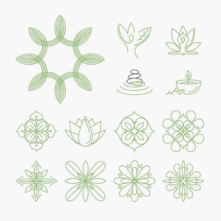 productos naturales: Conjunto de signos y elementos de spa, yoga y bienestar, belleza y moda, cosméticos y productos naturales. Delgadas conceptos línea de ilustración de diseño gráfico y web.