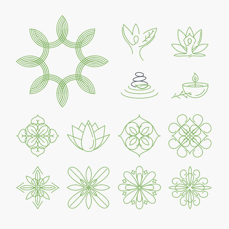 beauty products: Set of signs and elements for spa, yoga and wellness, beauty and fashion, cosmetics and natural products. Thin line illustration concepts for graphic and web design.
