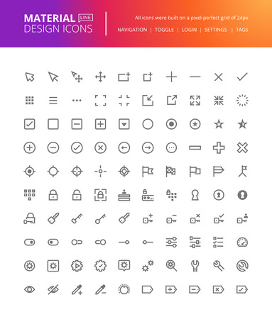 line material: Material design icons set. Thin line pixel perfect icons for navigation, settings, buttons and toggles. Premium quality icons for website and app design. Illustration