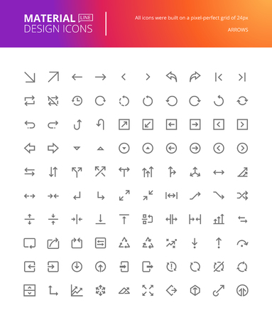 line material: Material design arrow icons set. Thin line pixel perfect icons. Premium quality icons for website and app design.