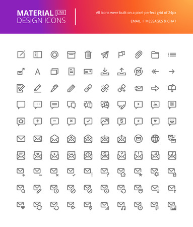 communication icons: Material design icons set. Thin line pixel perfect icons for contact, communication, social media, networking. Premium quality icons for website and app design. Illustration