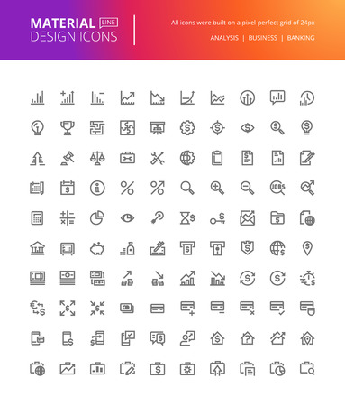 line material: Material design icons set. Thin line pixel perfect icons for business analysis, finance and banking. Premium quality icons for website and app design. Illustration