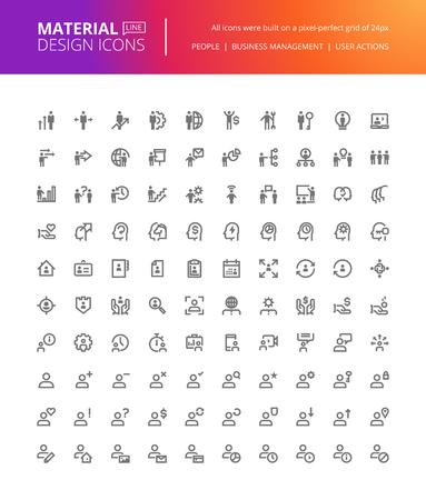 Material Design gens icons set. Thin pixel de ligne parfait icônes de gestion d'entreprise, l'action de l'utilisateur, les médias sociaux. icônes de qualité supérieure pour le site web et la conception de l'application.