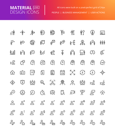 Material design people icons set. Thin line pixel perfect icons of business management, user action, social media. Premium quality icons for website and app design.