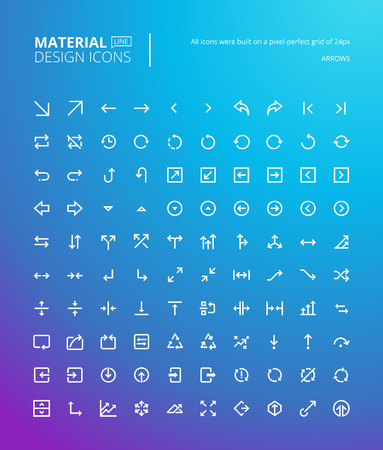 line material: Set of material design line icons. Pixel perfect arrow icons for navigation, business and media apps, business management.