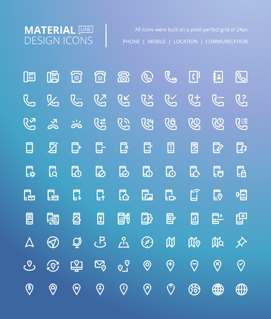 contact information: Set of material design line icons. Pixel perfect icons for mobile apps, communication, contact information, navigation. Illustration