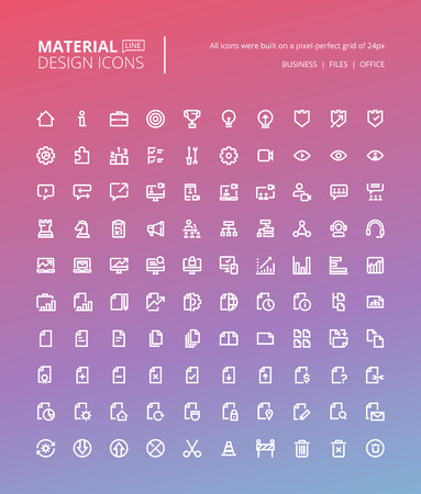 line material: Set of material design line icons. Pixel perfect icons for business and marketing, office tools, digital media.