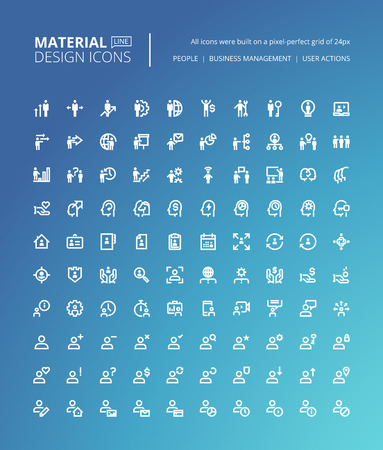 Set of material design line icons. Pixel perfect icons for business management, people profile, user action, business concepts. Illustration