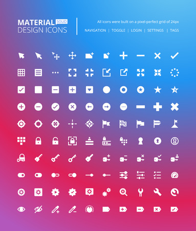 navigation buttons: Pixel perfect solid material design icons. Set of premium quality icon for navigation, settings, buttons and toggles. Illustration