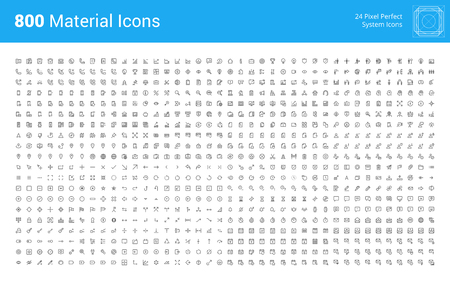 Material design pixel perfect icons set. Thin line icons for business, marketing, social media, UI and UX, finance and banking, navigation, mobile app, communication, action icons, management, seo.