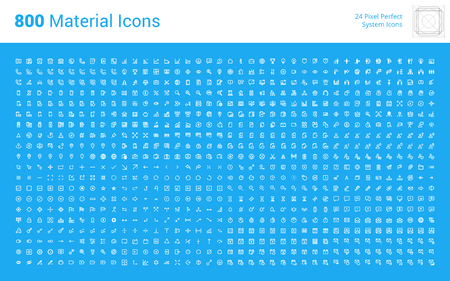 HUGE bundle of material design icons. Pixel perfect thin line icons for app development, for business, technology, networking, communication, e-commerce, mobile services, action and settings. Zdjęcie Seryjne - 65812683
