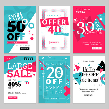 mobile website: Social media sale banners and ads web template set. Vector illustrations for website and mobile website banners, posters, email and newsletter designs, ads, coupons, promotional material.