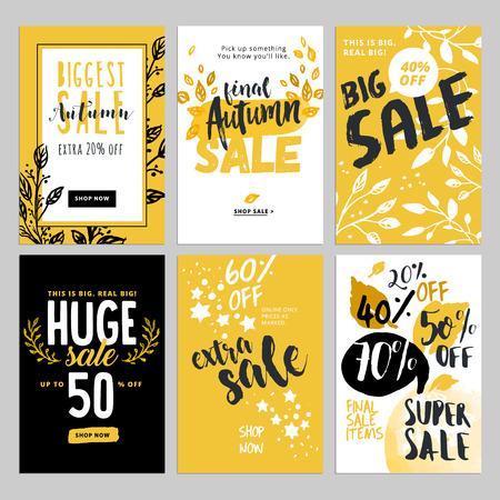 소셜 미디어 판매 배너 및 광고 웹 템플릿 집합입니다. 시즌 온라인 쇼핑 웹 사이트 및 모바일 웹 사이트 배너, 포스터, 이메일 및 뉴스 레터 디자인, 광 일러스트