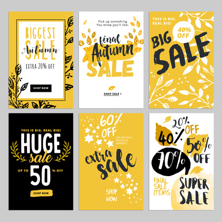 Social media sale banners, and ads web template set. Vector illustrations of season online shopping website and mobile website banners, posters, email and newsletter designs, ads, coupons. Ilustração