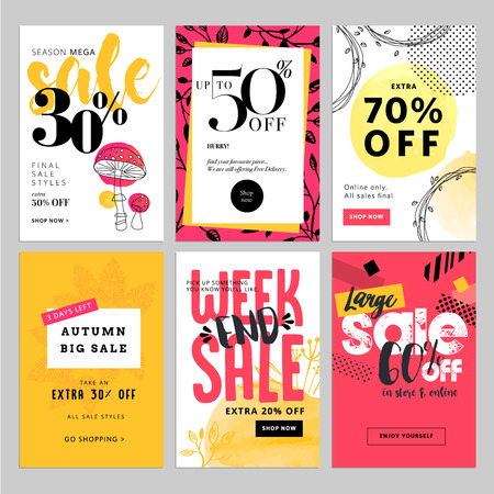 Social media sale banners and ads web template set. Vector illustrations for website and mobile website banners, posters, email and newsletter designs, ads, coupons, promotional material.