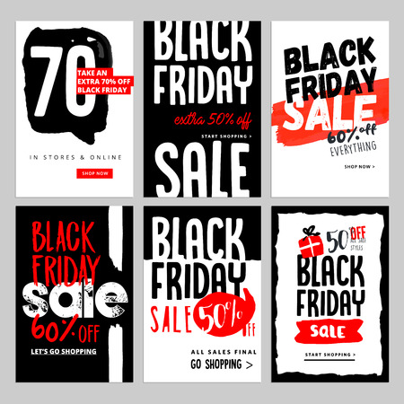 Set of mobile sale banners. Black Friday sale banners. Vector illustrations of online shopping website and mobile website banners, posters, newsletter designs, ads, coupons, social media banners.  イラスト・ベクター素材