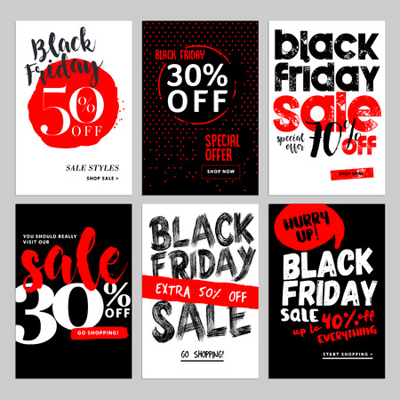 Set of mobile sale banners. Black Friday sale banners. Vector illustrations of online shopping website and mobile website banners, posters, newsletter designs, ads, coupons, social media banners. Ilustracja