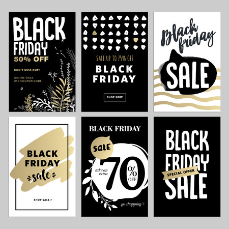 mobile website: Set of mobile sale banners. Black Friday sale banners. Vector illustrations of online shopping website and mobile website banners, posters, newsletter designs, ads, coupons, social media banners. Illustration