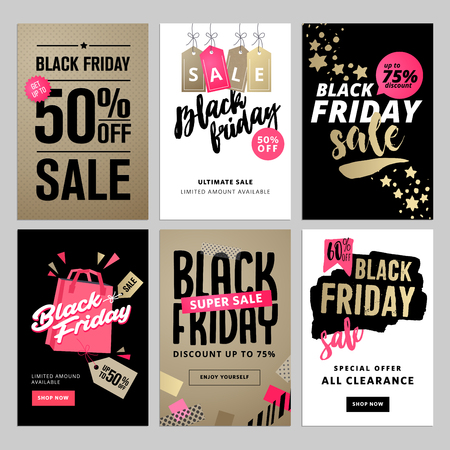 Set of mobile sale banners. Black Friday sale banners. Vector illustrations of online shopping website and mobile website banners, posters, newsletter designs, ads, coupons, social media banners. 일러스트