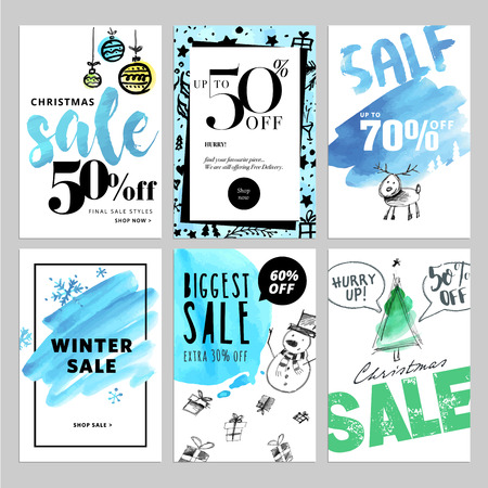 mobile website: Set of Christmas and New Year mobile sale banners. Vector illustrations of online shopping website and mobile website banners, posters, newsletter designs, ads, coupons, social media banners.