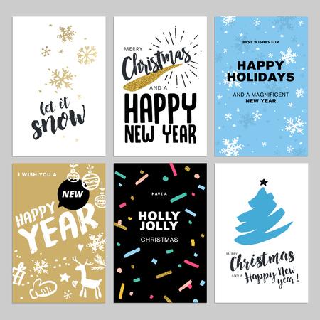 cartes de voeux dessinée Noël et Nouvel An main fixés. illustrations vectorielles pour les cartes de voeux, site web et des bannières mobiles, matériel de marketing.