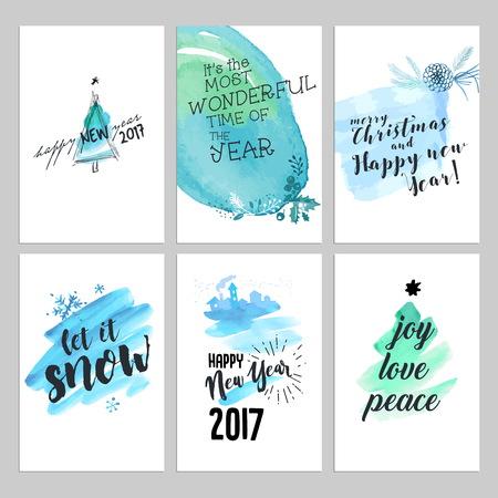 Christmas and New Year hand drawn greeting cards set. Watercolor vector illustrations for greeting cards, website and mobile banners, marketing material.
