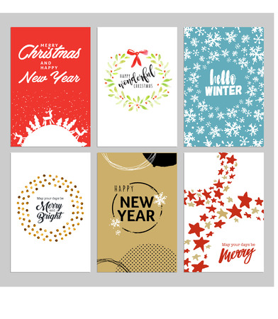 Christmas and new year hand drawn greeting cards set vector christmas and new year hand drawn greeting cards set vector illustrations for greeting cards m4hsunfo