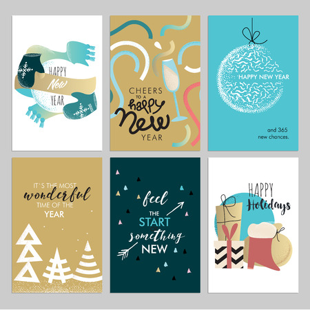 greeting cards: Christmas and New Year vintage greeting cards set. Hand drawn vector illustrations for greeting cards, website and mobile banners, marketing material.