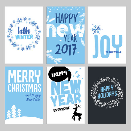 greeting cards: Christmas and New Year hand drawn greeting cards set. Vector illustrations for greeting cards, website and mobile banners, marketing material.