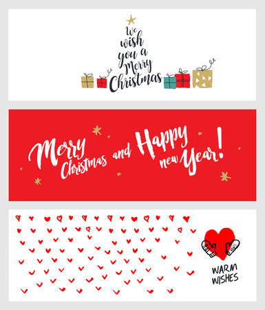 website design: Set of Christmas and New Year social media banners. Hand drawn vector illustrations for website and mobile banners, internet marketing, greeting cards and printed material design.
