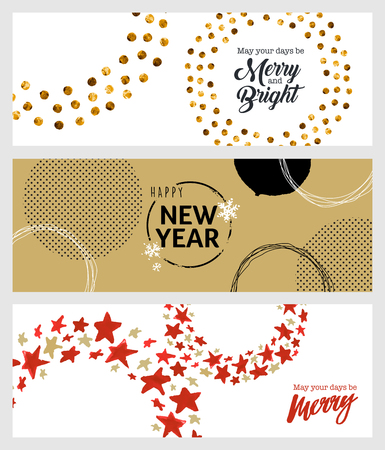 printed material: Set of Christmas and New Year social media banners. Hand drawn vector illustrations for website and mobile banners, internet marketing, greeting cards and printed material design.