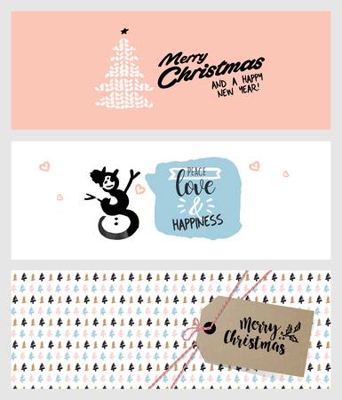 advertising design: Set of Christmas and New Year social media banners. Hand drawn vector illustrations for website and mobile banners, internet marketing, greeting cards and printed material design.