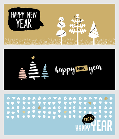 mobile advertising: Set of Christmas and New Year social media banners. Hand drawn vector illustrations for website and mobile banners, internet marketing, greeting cards and printed material design.