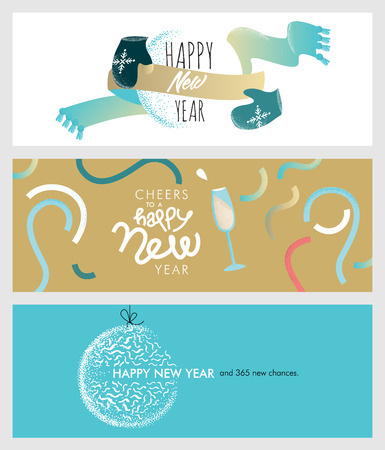 greeting cards: Set of Christmas and New Year social media banners. Hand drawn vector illustrations for website and mobile banners, internet marketing, greeting cards and printed material design.