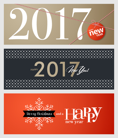 printed media: Set of Christmas and New Year social media banners. Hand drawn vector illustrations for website and mobile banners, internet marketing, greeting cards and printed material design.
