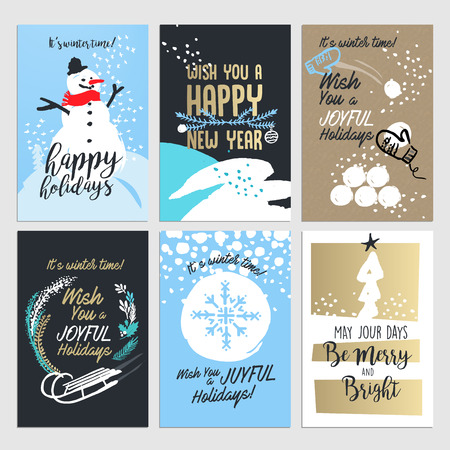 od: Christmas and New year greeting card concepts. Set od flat design vector illustrations for greeting cards, web banners and print material design.