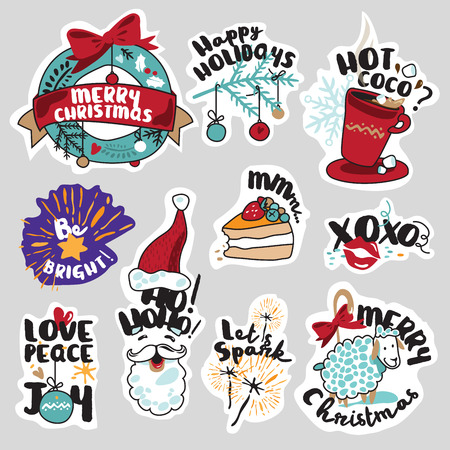 season's greeting: Winter social media stickers set. Isolated seasons vector illustrations for social media communication, networking, website badges, greeting cards. Illustration